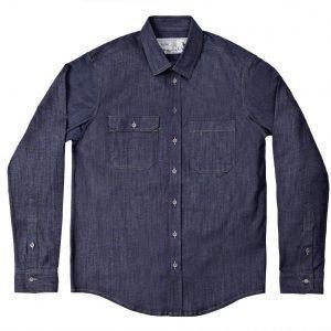 Camisa Jeans Manga Longa Cabra