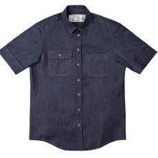 Camisa Jeans Manga Curta Cabra