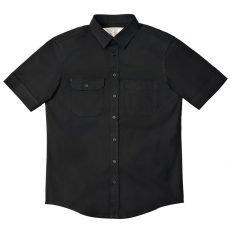 Camisa Sarja Manga Curta Preta