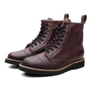 Bota Coturno Masculino London Couro Dia a Dia Black Boots - Masculino-Vinho
