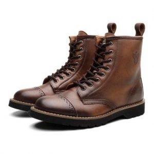 Bota Coturno Masculino London Couro Dia a Dia Black Boots - Masculino-Marrom Escuro