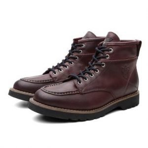 Bota Coturno Masculino Moscou Couro Cano Medio Black Boots - Masculino-Vinho
