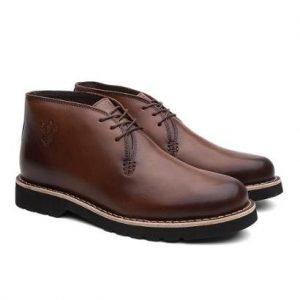 Bota Masculina Bristol Couro Cano Baixo Elegante Black Boots - Unissex-Marrom Claro+Marrom Escuro