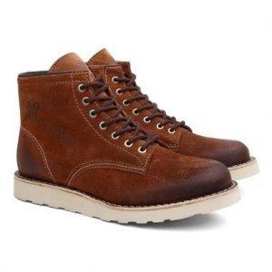 Bota Coturno Unissex Dublin Camurça Cano Médio Black Boots - Unissex-Marrom+Laranja