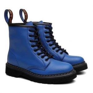 Bota Coturno Viena Unissex Vegano Cano Alto Black Boots - Unissex-Azul