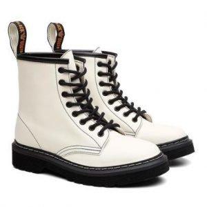 Bota Coturno Viena Unissex Vegano Cano Alto Black Boots - Unissex-Branco