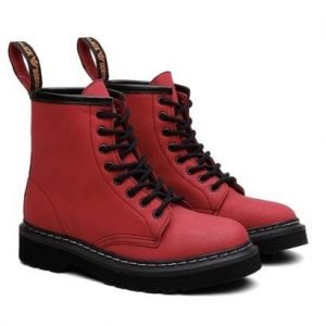 Bota Coturno Viena Unissex Vegano Cano Alto Black Boots - Unissex-Vermelho