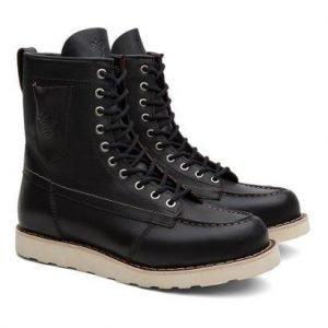 Bota Coturno Unissex Ohio Pocket Couro Cano Alto Black Boots - Unissex-Preto