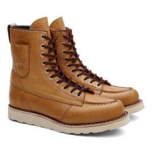 Bota Coturno Unissex Ohio Pocket Couro Cano Alto Black Boots - Unissex-Caramelo