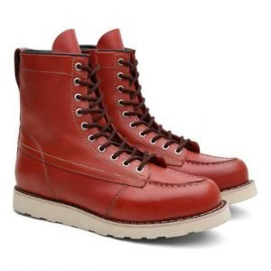 Bota Coturno Unissex Ohio SX Couro Cano Alto Black Boots - Unissex-Vermelho Claro