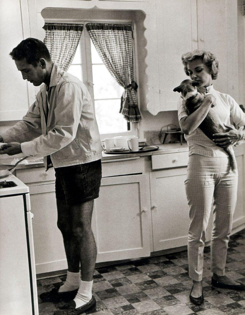 Paul Newman e Joanne Woodward em casa