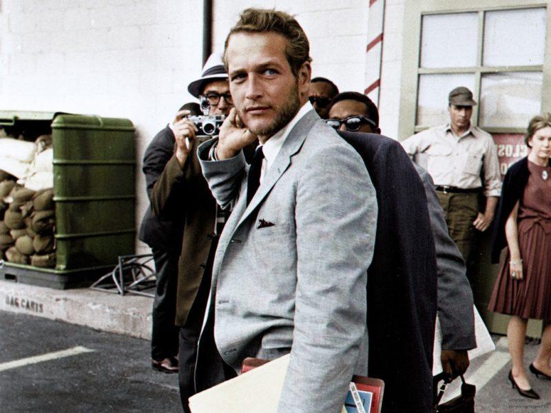 Paul Newman terno cinza