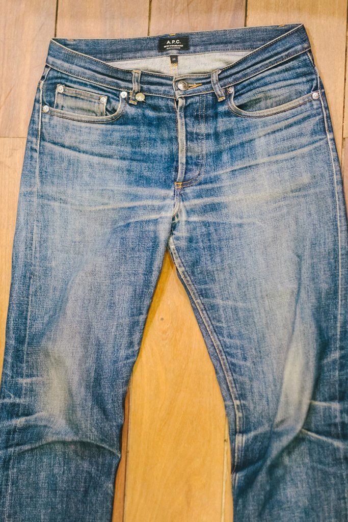 jeans desbotado apc raw denim fade 2