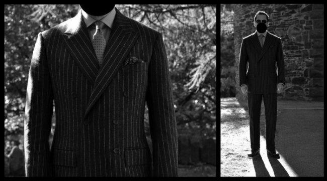 terno estilo jaquetão com abotoamento duplo e listas risca de giz