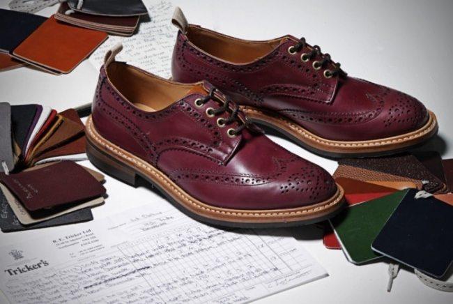 Sapato brogue vinho Trickers para End Clothing