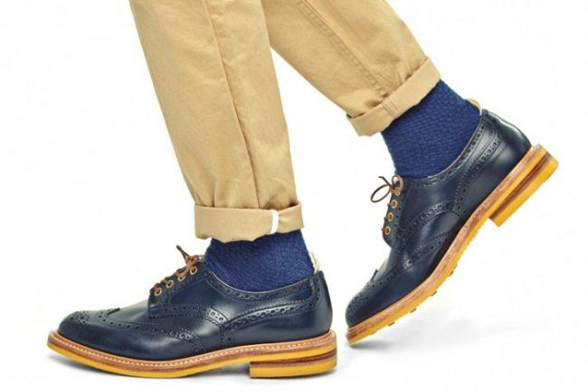 Sapato brogue azul Trickers