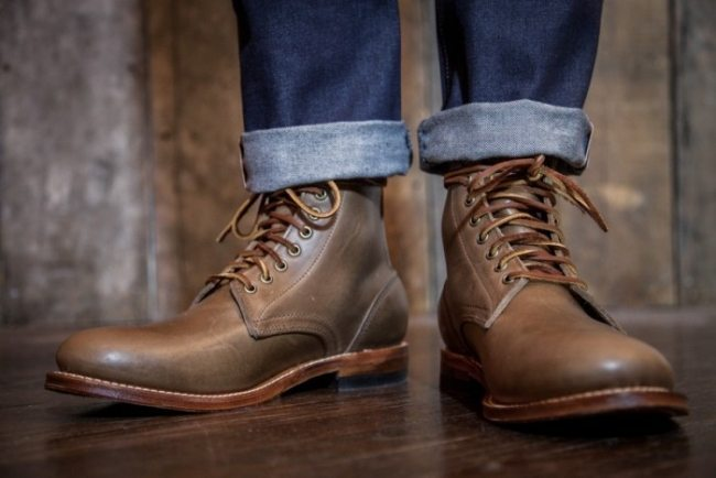 Bota Oak Street Boot Maker Trench Boot em couro chromexcel natural