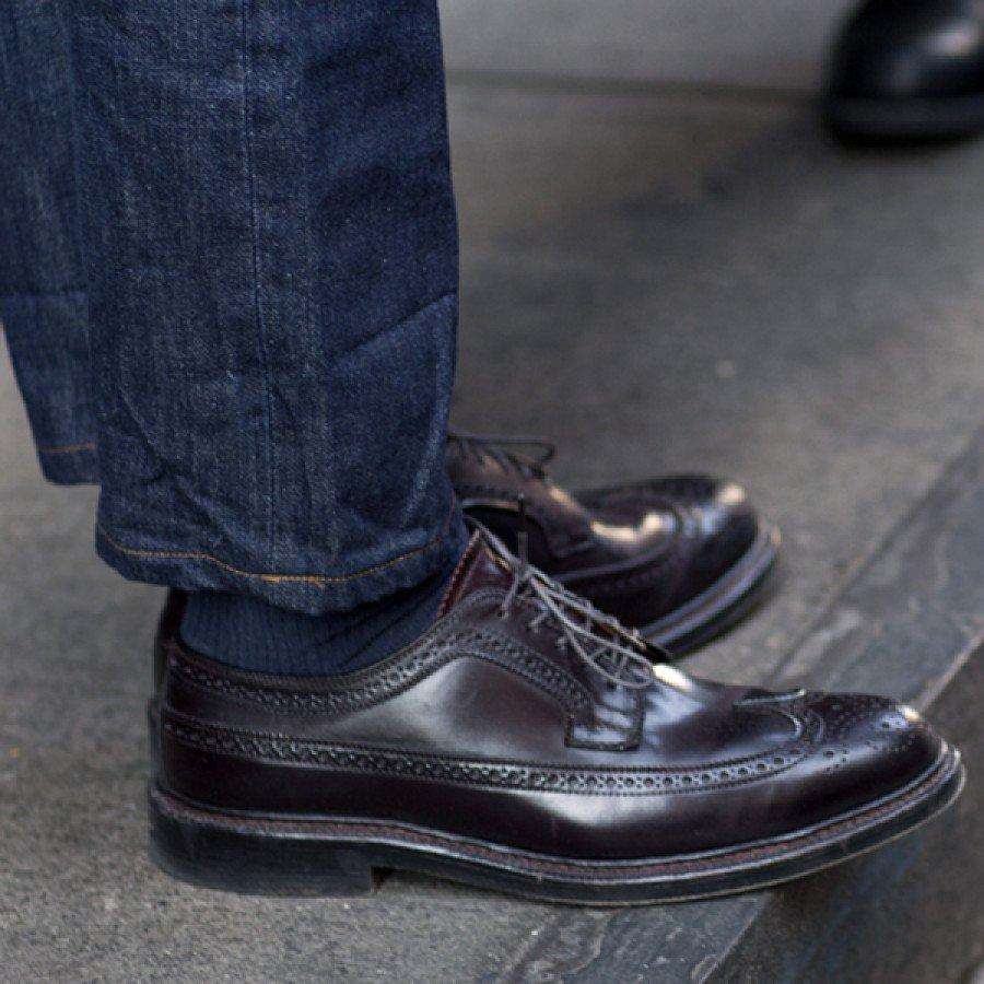 sapatos em couro shell cordovan
