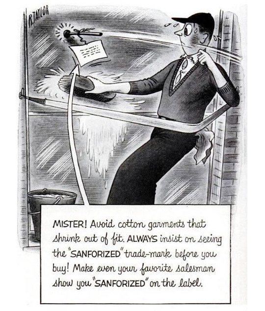 quadrinho sobre tecidos sanforizados e o metodo de sanforização