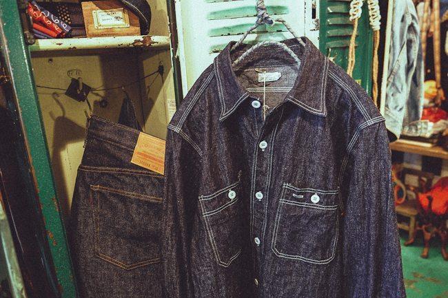 camisa jeans e calça jeans com denim japonês da Ware House