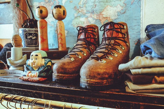 bota de vintage para montanhismo