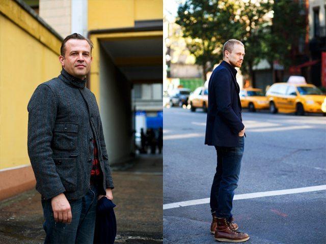 """Em 2008 o Sartorialist fez um projeto para a GQ chamado """"Suits and Boots"""". Na esquerda, um casaco inspirado no workwear."""