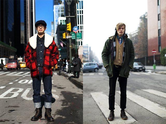 Foto: Sartorialist 2008. Jeans brutos, buffalo plaid, e jaquetas Barbour.