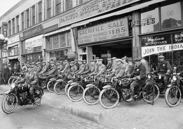 LA Motor Corps Riding Indian Motorcycles