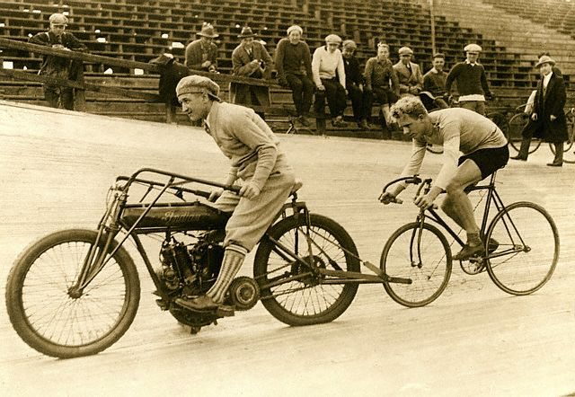 Bicyclist Following Motorcyclist