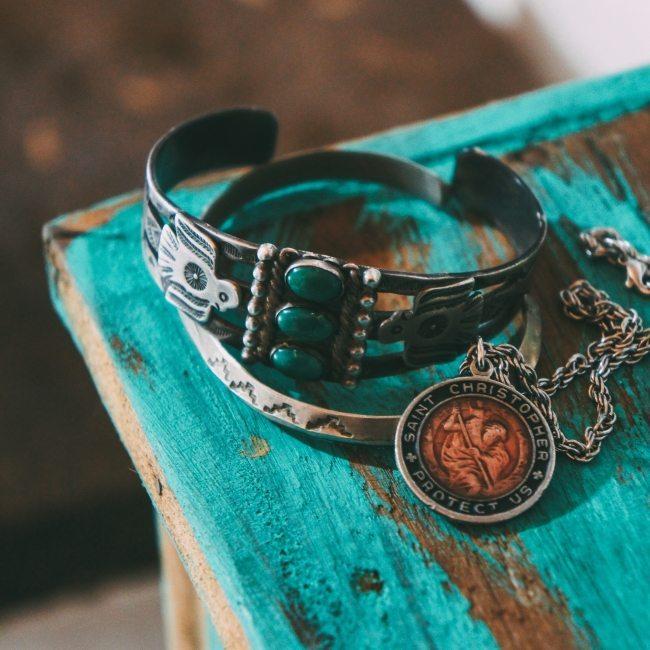 braceletes vintage navajo com turquesa