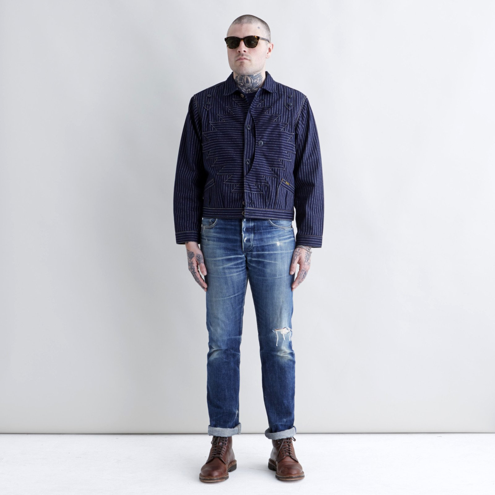 Wabash: Tecido indigo estampado do workwear vintage