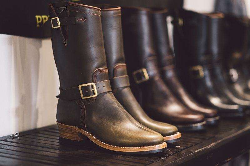 Olive Chromexcel Engineer Boots Role Club by Brian The Bootmaker