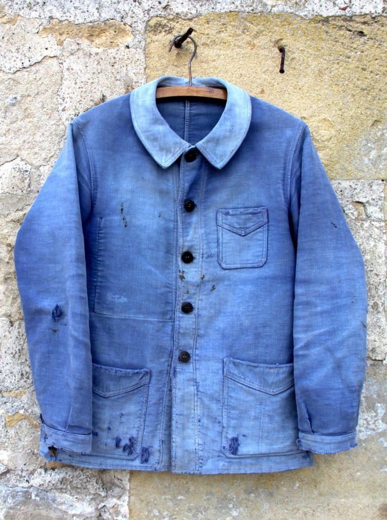 Jaqueta azul francesa vintage de moleskine