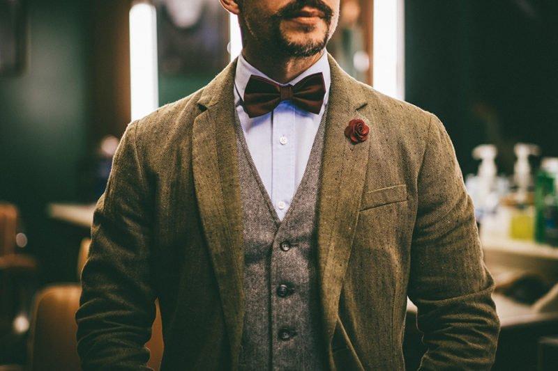 Fred Catizanni Razor Bros - Blazer de Tweed e Gravata Borboleta