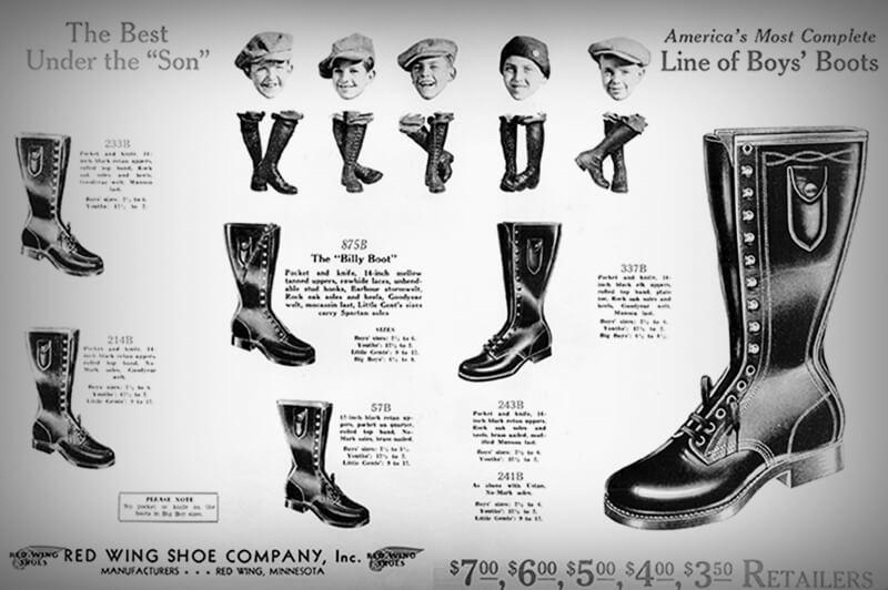 Anúncio antigo das botas Red Wing