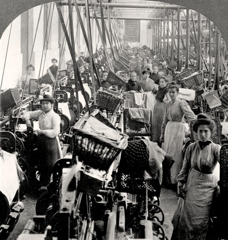Fábrica de roupas na revolução industrial