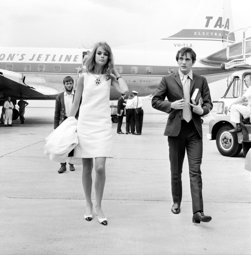 Jean Shrimpton and Terence Stamp arrive at Melbourne airport in 1965