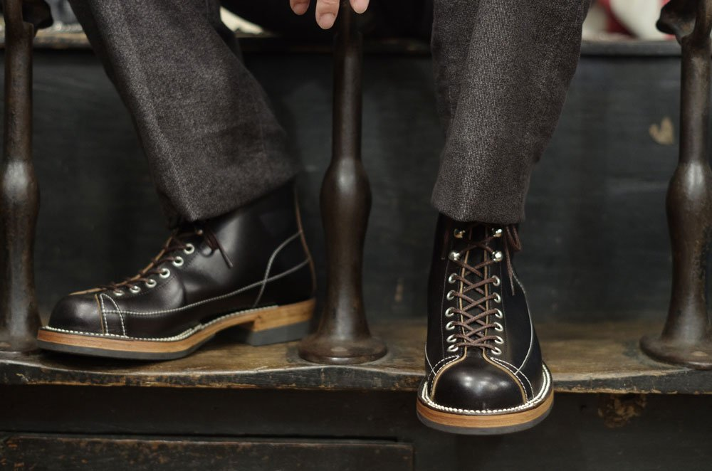 botas masculinas lace to toe de couro preto