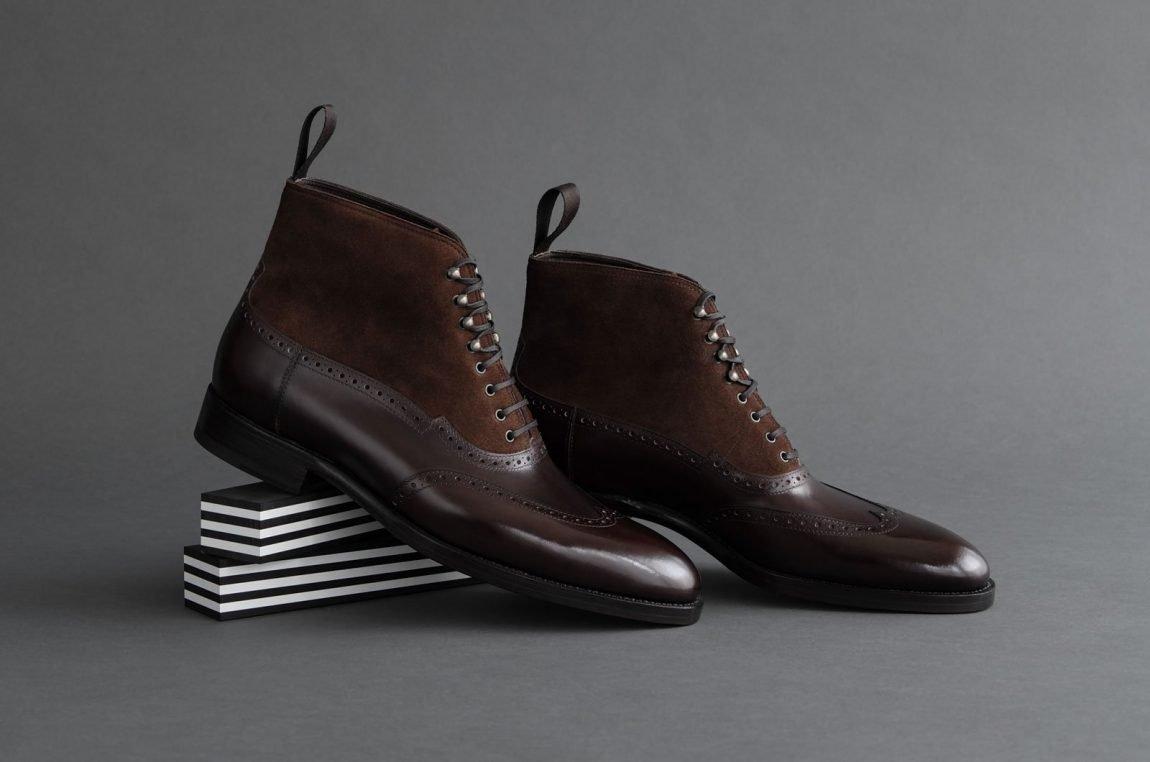 botas masculinas oxford de couro marrom