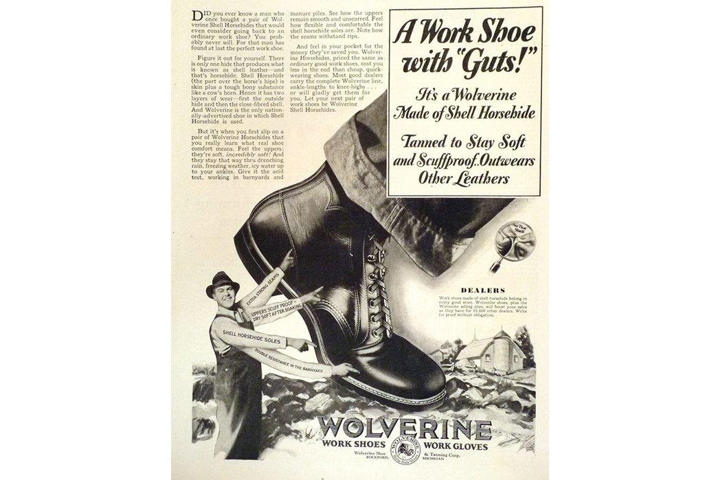 bota wolverine 1000 miles em anúncio antigo de botas