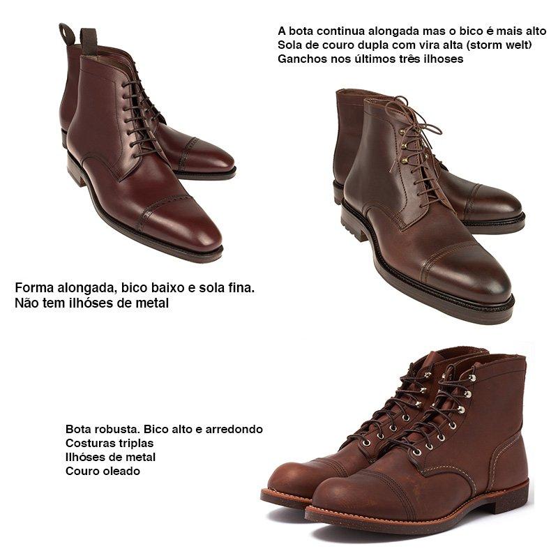 864592b33 Costuras duplas, triplas ou quadruplas são sinais de uma bota pra chutar  lata e trabalhar. São, portanto, mais casuais