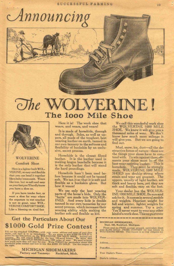 Anúncio antigo Bota Wolverine