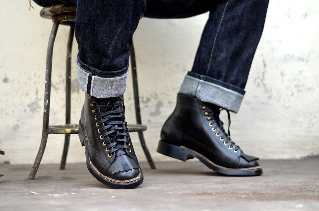 Bota masculina preta lace to toe Txture