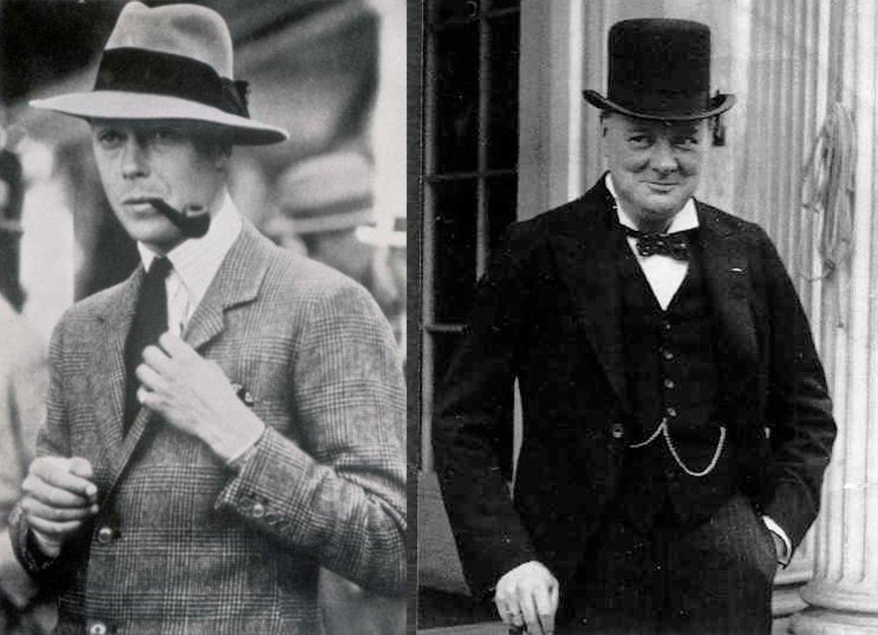 Príncipe de Gales de fedora em 1925 e Winston Churchil de cartola em 1925