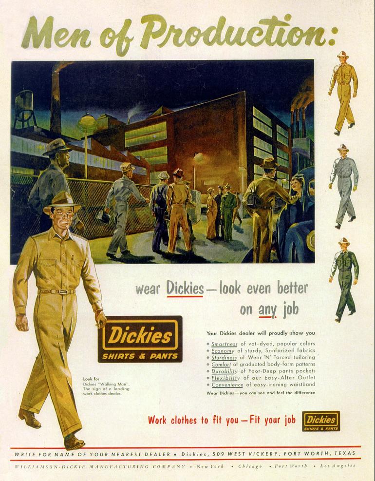 Anúncio antigo dos uniformes Dickies