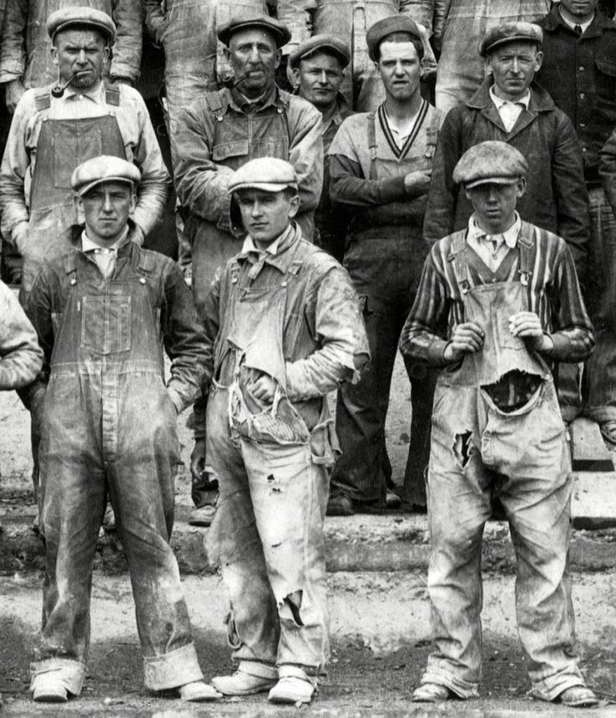 trabalhadores de jeans década de 1890