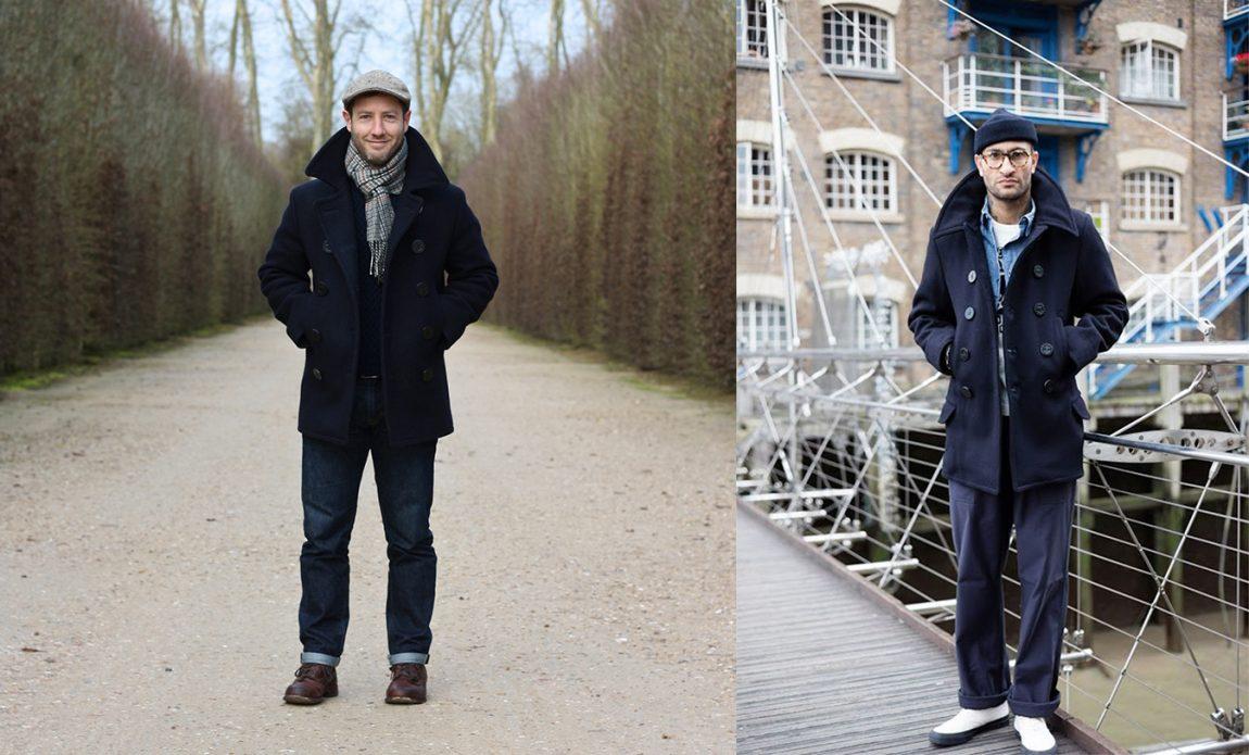 Como usar pea coat com jeans e chinos