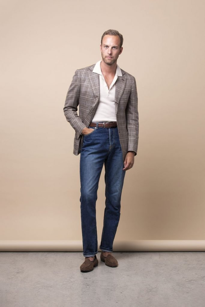 calça jeans com blazer masculino