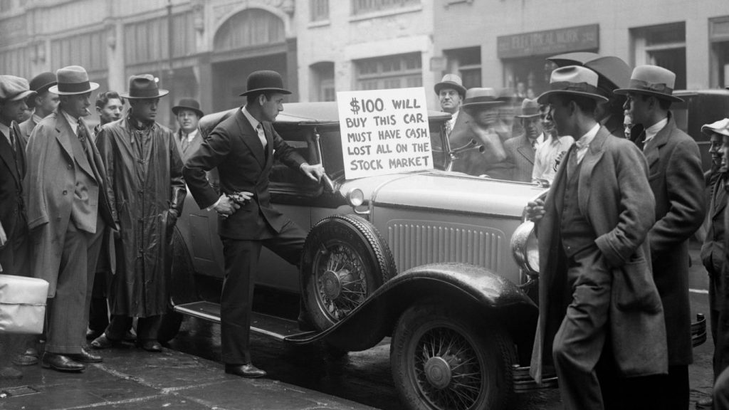 Pessoas na quinta feira negra em outubro de 1929