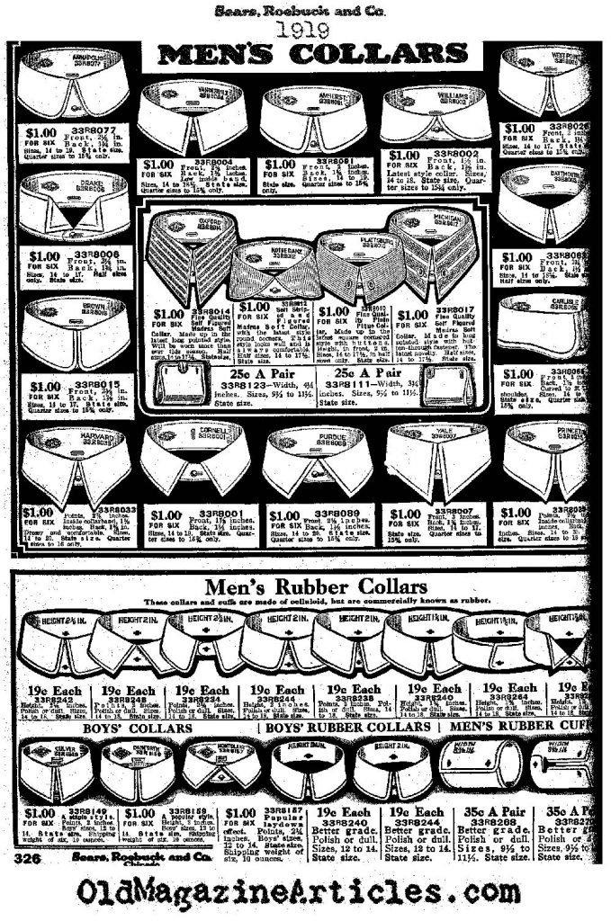 Golas de camisa dos anos 20